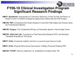 fy09 10 clinical investigation program significant research findings