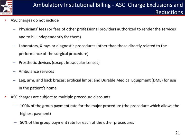 Ambulatory Institutional Billing - ASC  Charge Exclusions and Reductions