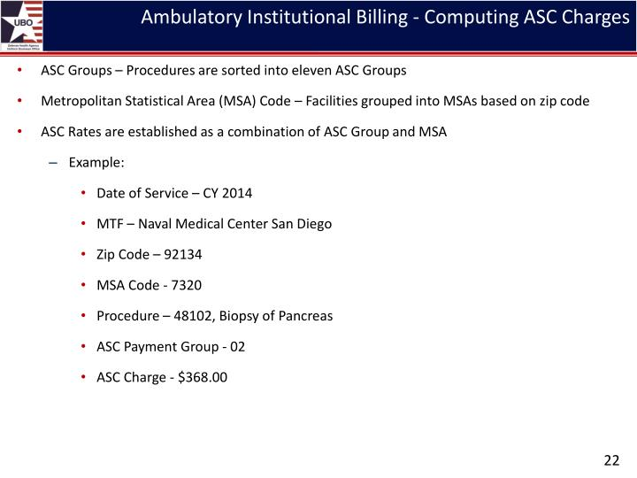 Ambulatory Institutional Billing - Computing ASC Charges