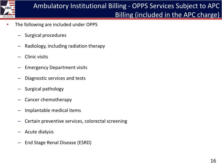 Ambulatory Institutional Billing - OPPS Services Subject to APC Billing (included in the APC charge)