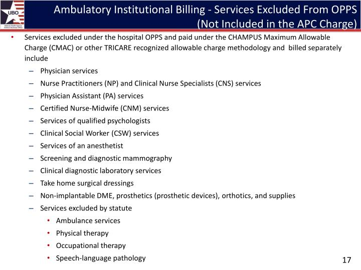 Ambulatory Institutional Billing - Services Excluded From OPPS