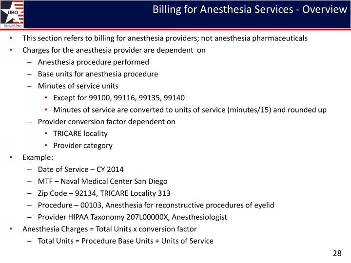 Billing for Anesthesia Services - Overview