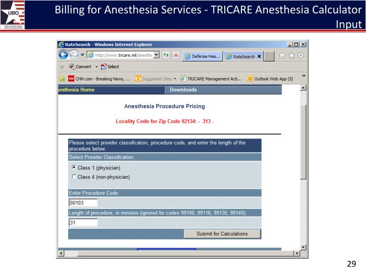 Billing for Anesthesia Services - TRICARE Anesthesia Calculator Input