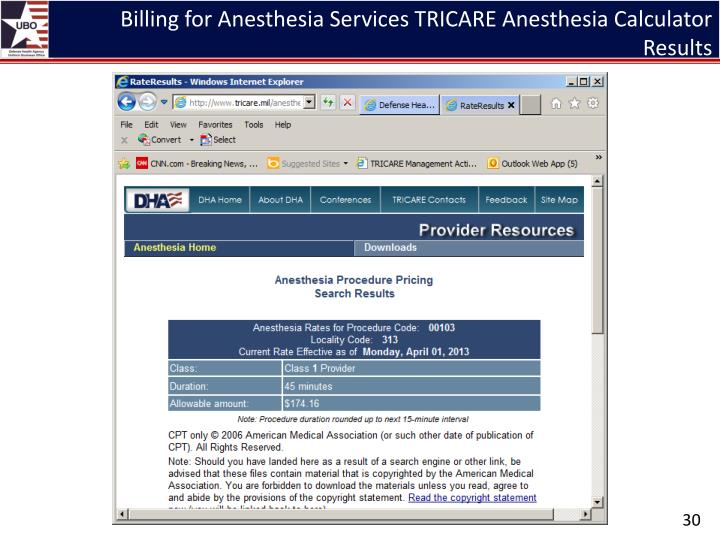 Billing for Anesthesia Services TRICARE Anesthesia Calculator Results