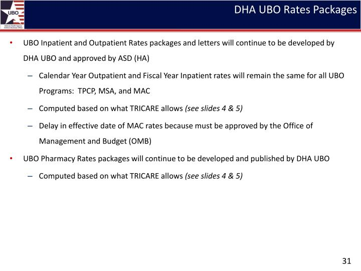 DHA UBO Rates Packages