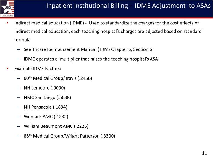 Inpatient Institutional Billing -  IDME Adjustment  to ASAs