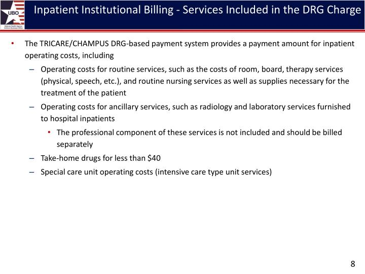Inpatient Institutional Billing - Services Included in the DRG Charge