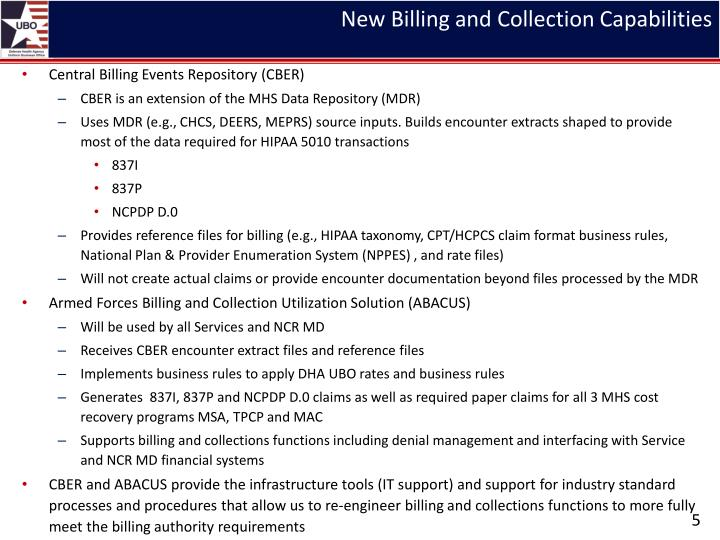 New Billing and Collection Capabilities