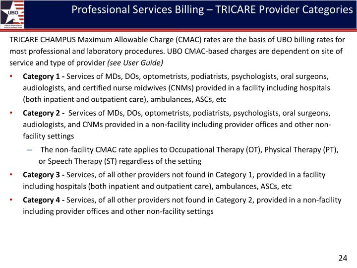 Professional Services Billing – TRICARE Provider Categories