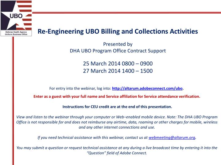 Re-Engineering UBO Billing and Collections Activities