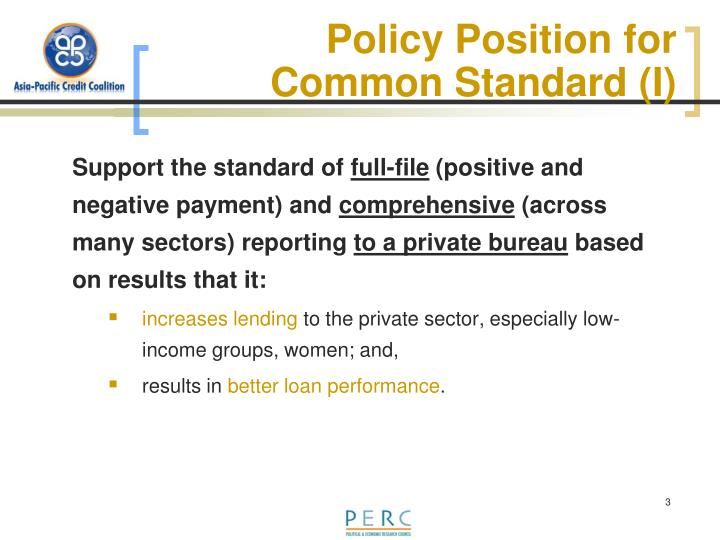 Policy Position for Common Standard (I)