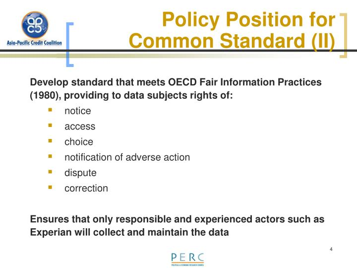 Policy Position for Common Standard (II)