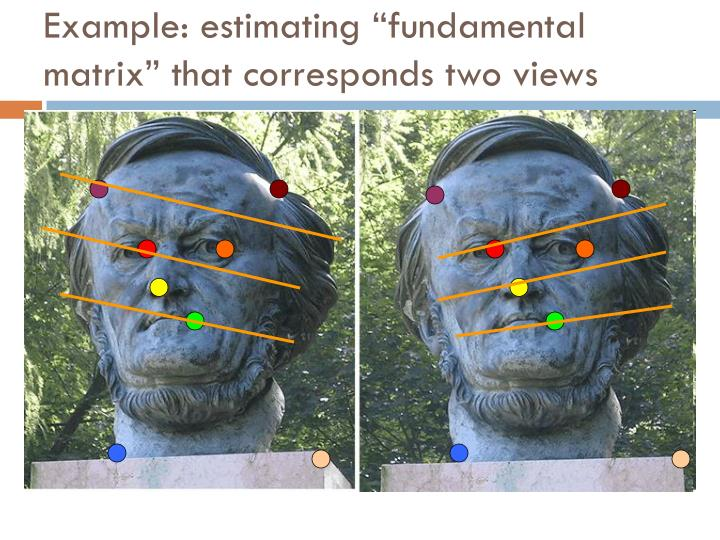 "Example: estimating ""fundamental matrix"" that corresponds two views"