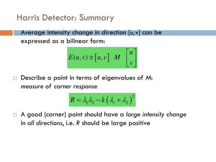 Harris Detector: Summary