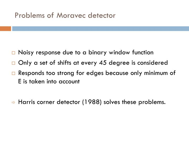 Problems of Moravec detector