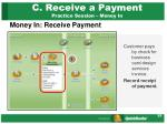 c receive a payment practice session money in