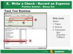 e write a check record an expense practice session money out1