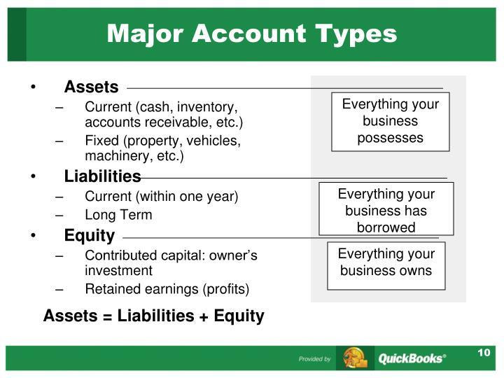 Major Account Types