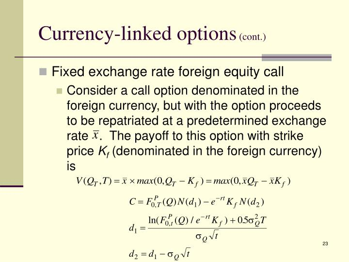 Currency-linked options