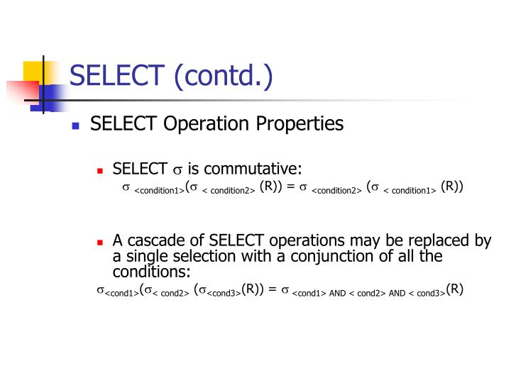 SELECT (contd.)