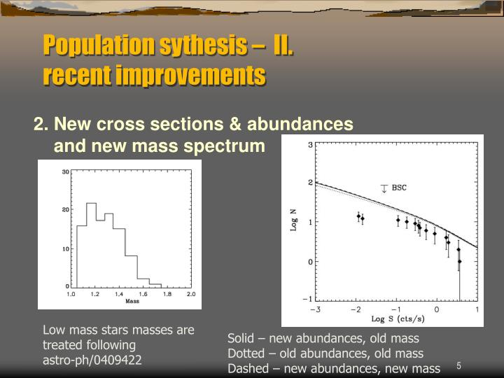 Population sythesis –  II.