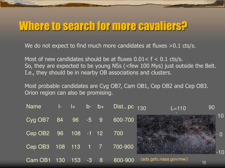Where to search for more cavaliers?