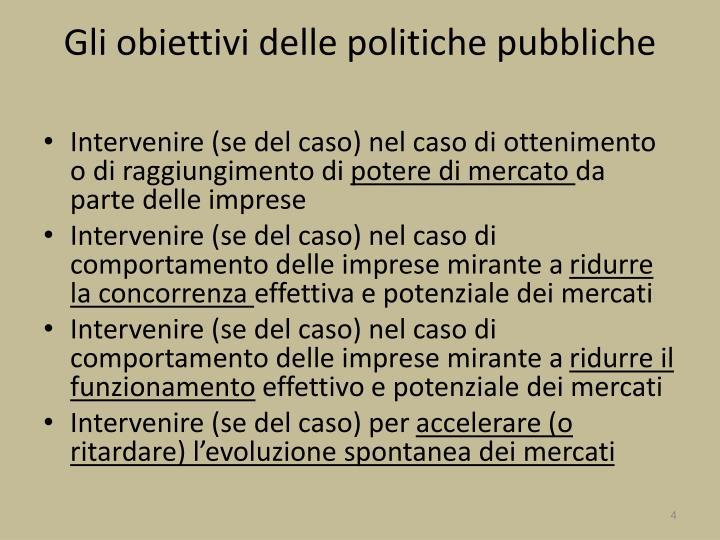 Gli obiettivi delle politiche pubbliche