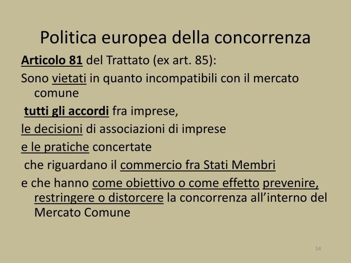 Politica europea della concorrenza