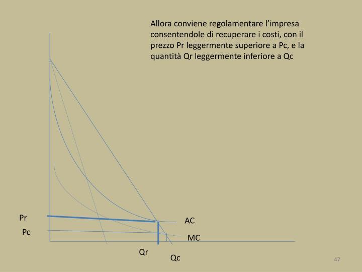 Allora conviene regolamentare l'impresa consentendole di recuperare i costi, con il prezzo Pr leggermente superiore a