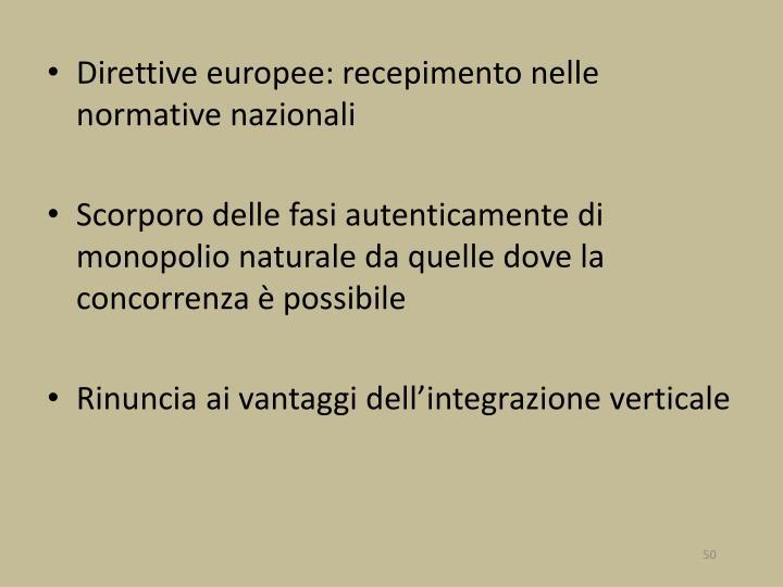 Direttive europee: recepimento nelle normative nazionali