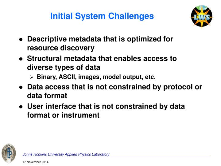 Initial System Challenges