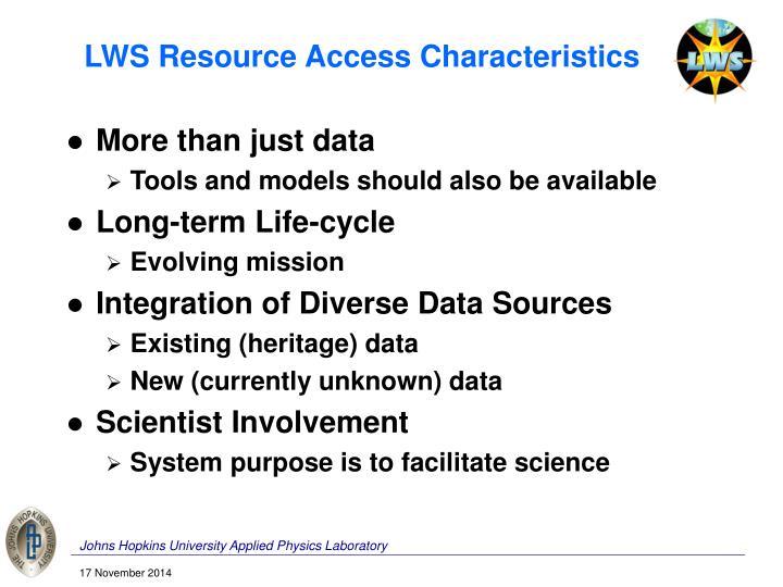 LWS Resource Access Characteristics