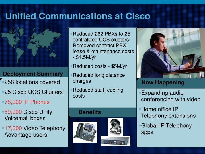 Reduced 262 PBXs to 25 centralized UCS clusters - Removed contract PBX lease & maintenance costs - $4.5M/yr