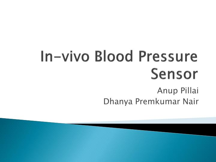 In vivo blood pressure sensor