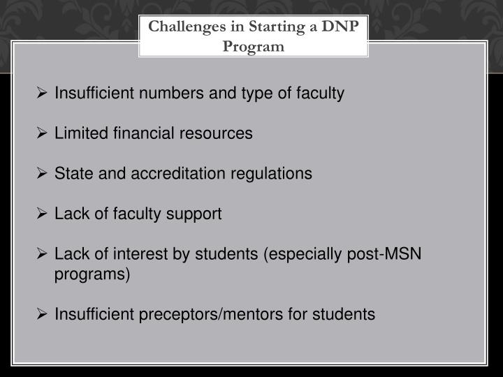 Challenges in Starting a DNP Program