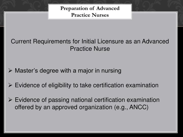 Preparation of Advanced Practice Nurses