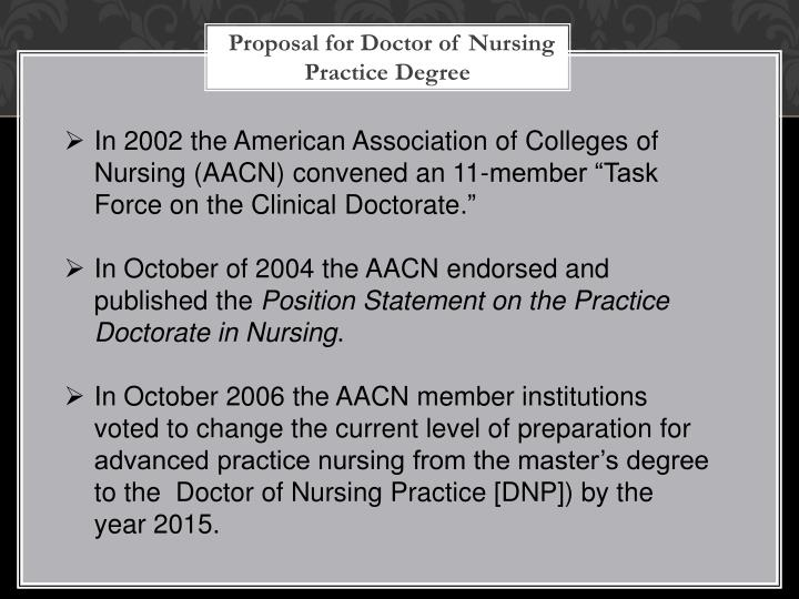 Proposal for Doctor of Nursing Practice Degree