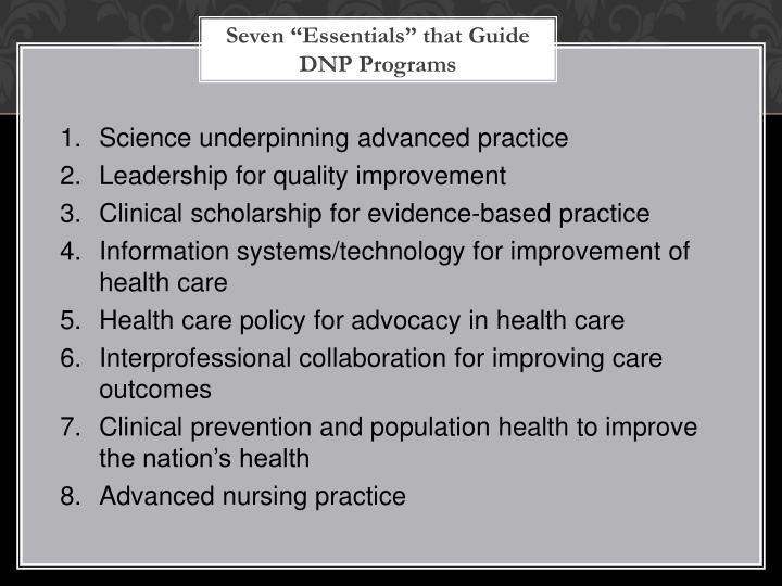 "Seven ""Essentials"" that Guide DNP Programs"