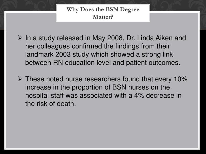Why Does the BSN Degree Matter?