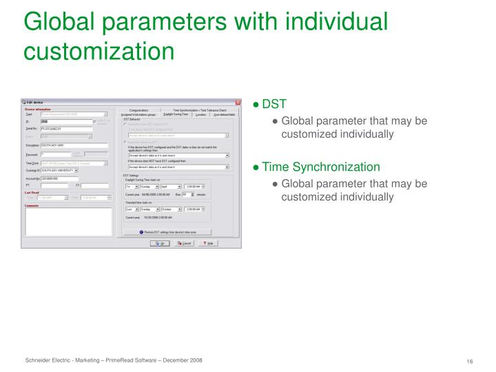 Global parameters with individual customization