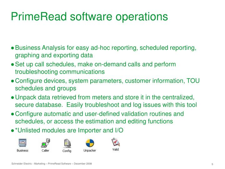 PrimeRead software operations