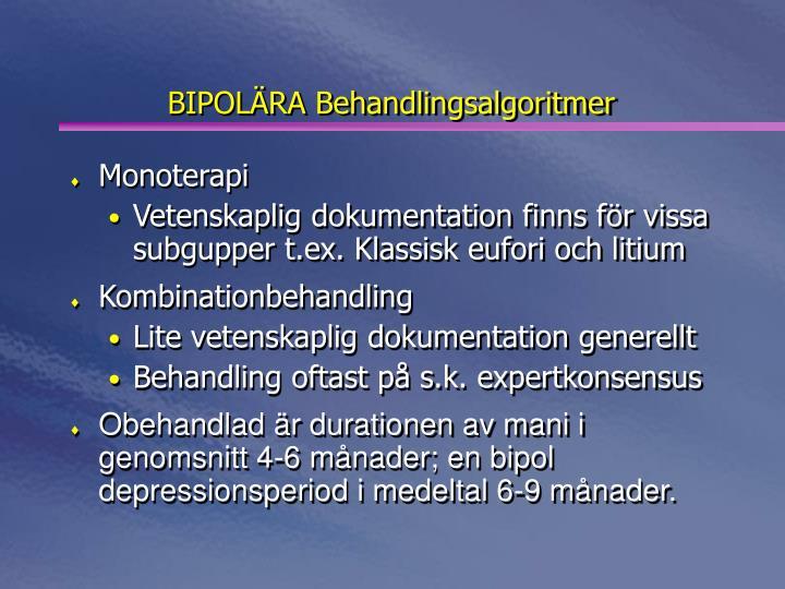 BIPOLÄRA Behandlingsalgoritmer