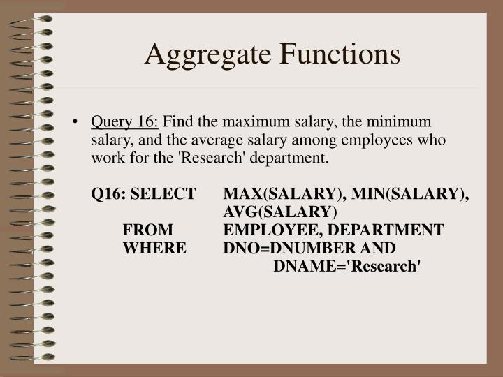 Aggregate Functions