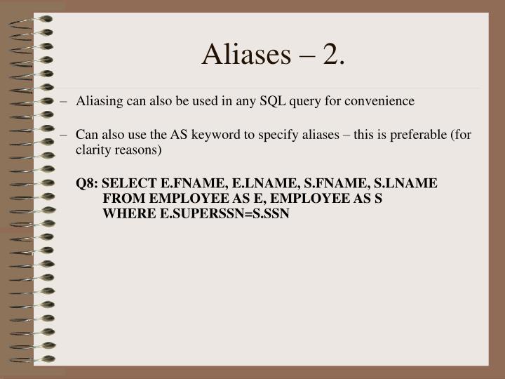 Aliases – 2.