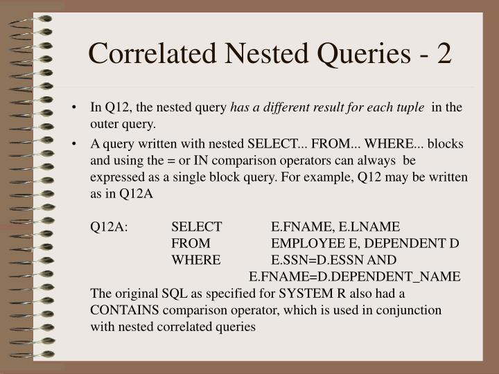 Correlated Nested Queries - 2