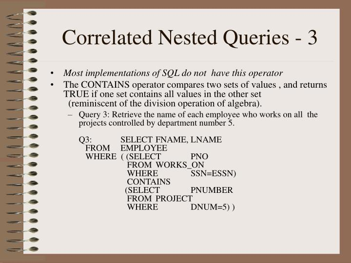 Correlated Nested Queries - 3
