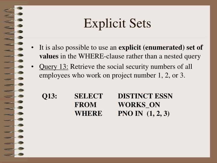 Explicit Sets