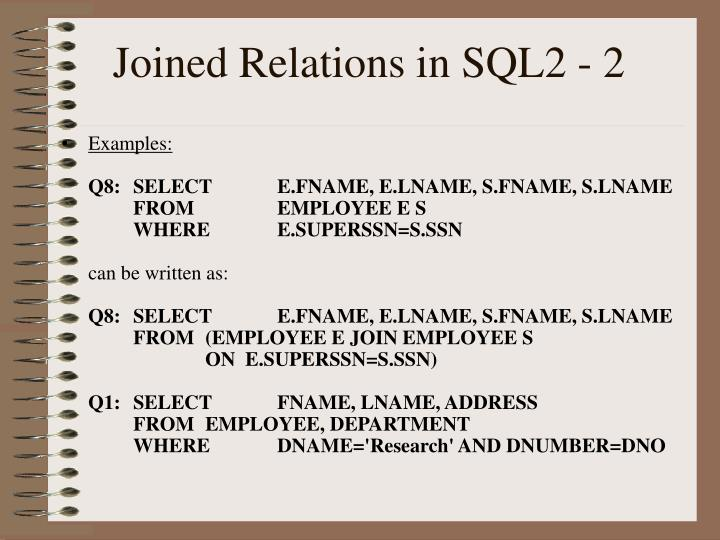 Joined Relations in SQL2 - 2