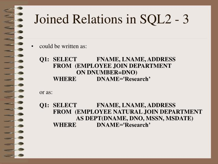 Joined Relations in SQL2 - 3
