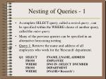 nesting of queries 1